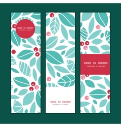 Christmas holly berries vertical banners set vector