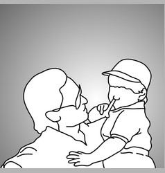 close-up businessman holding his son vector image