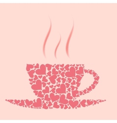 Coffee cup from red hearts vector