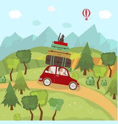 Family car trip in countryside hills mountains vector