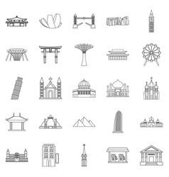 Formation icons set outline style vector