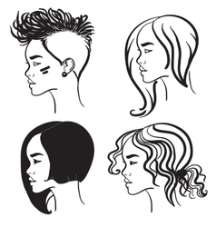 Four face in profile silhouettes of girls vector image vector image