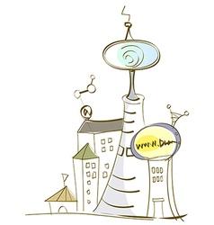 Futuristic Town Scene vector image