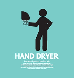 Hand dryer machine in public toilet vector