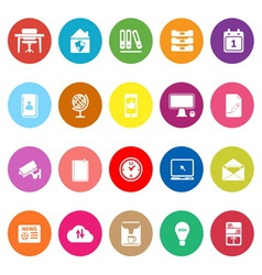 Home office flat icons on white background vector