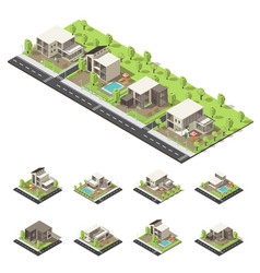 Isometric suburban buildings composition vector
