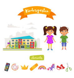 kindergarten set of elements vector image vector image