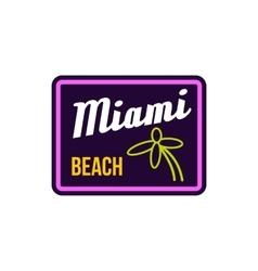 Miami beach label icon in flat style vector