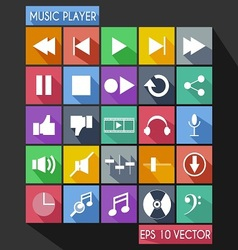 Music Player Flat Icon Long Shadow vector image