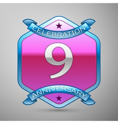 Nine years anniversary celebration silver logo vector