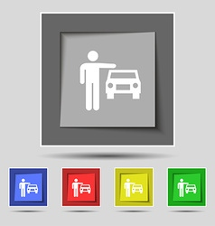 Person up hailing a taxi icon sign on original vector
