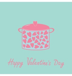 Pot with hearts Happy Valentines Day card Pink and vector image vector image