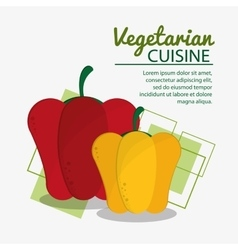 Red and yellow pepper fresh natural vegetarian vector