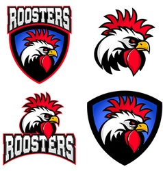 Roosters sport team logo template mascot vector
