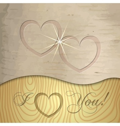 Saint Valentines wooden background vector image vector image