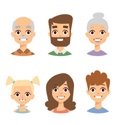 Set beautiful emoticons face of people vector