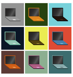 Set icons in flat design laptop vector