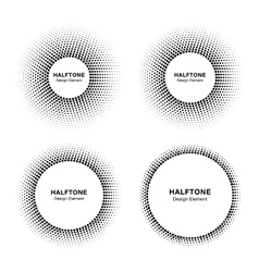 Set of abstract halftone circle frames vector