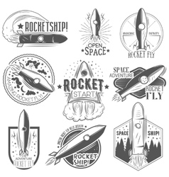 set of rocket launch labels in vintage vector image vector image