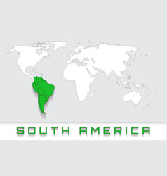 South america on the map vector