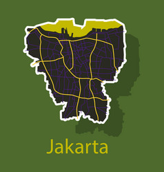 sticker outline map of the indonesian capital vector image vector image
