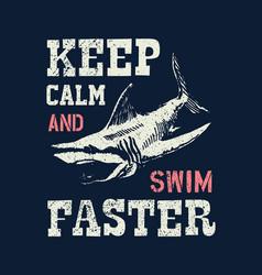 t shirt print design shark vintage stamp vector image vector image