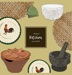 Thai style asian cookware sketch vector