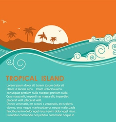 Tropical island and seascape vector