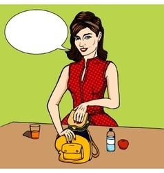 Woman puts sandwich to child bag comic vector