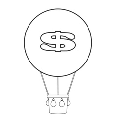 Dollar sign hot air balloon icon vector