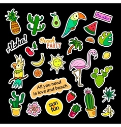 Fashion patch badges tropical set stickers pins vector