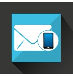 smartphone email social network media icon vector image