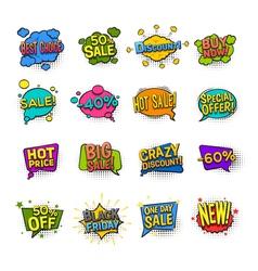 Sale Comic Icons Set vector image