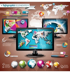 world map and information graphic on shiny display vector image