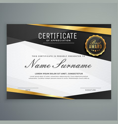 Stylish certificate of appreciation award vector