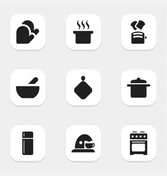 Set of 9 editable meal icons includes symbols vector