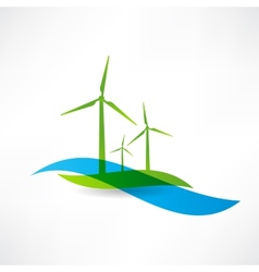 set of wind turbines icon vector image