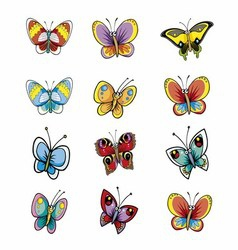 Many different butterflies isolated collect vector