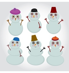 Set of cute cartoon snowmen for winter design vector