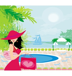 Elegant woman on tropical vacation vector
