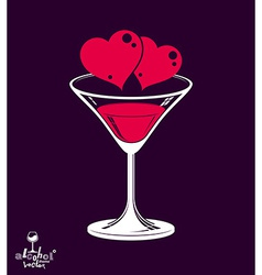 Valentines day beautiful martini glass vector