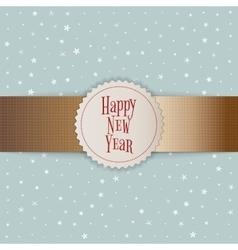 Happy new year white emblem on golden ribbon vector