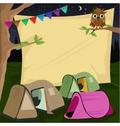 Campsite with a giant board stretched behind tents vector