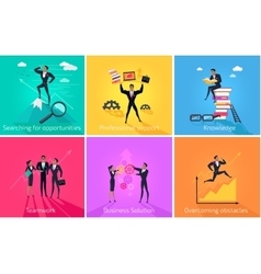 Business banner teamwork and solution vector