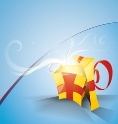 blue background with a festive box vector image vector image