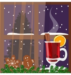 Christmas decorated window with mulled wine vector