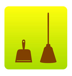 Dustpan sign scoop for cleaning garbage vector