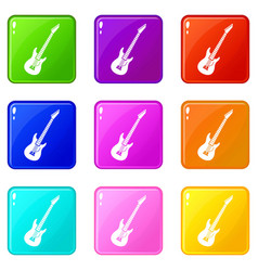 electric guitar set 9 vector image