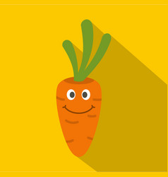 Fresh smiling carrot icon flat style vector