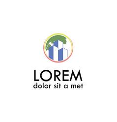 Globe building logo vector